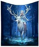 Nemesis Now Anne Stokes Überwurfdecke, Motiv: Wald, Elfen, Königin, Hirsch, blau, 160 cm
