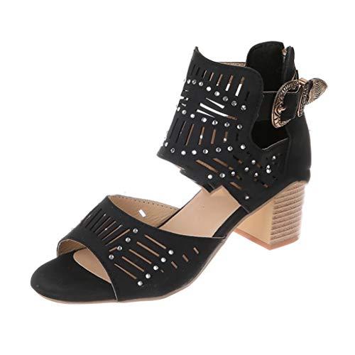 Sandalias de tacón Alto para Mujer Tacón de Bloque Correa de Tobillo de Verano Tribunales Zapatos Cremallera de Fiesta Peep-Toe Tacones Altos