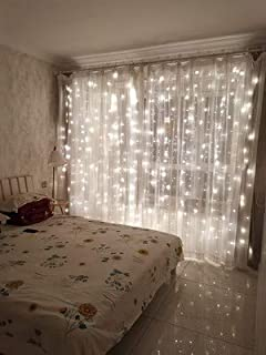 12APM 300 LED Curtain Fairy String Lights with Remote for Bedroom Window Wedding Wall Backdrops, USB Plug in with Power Adapter,Coldwhite