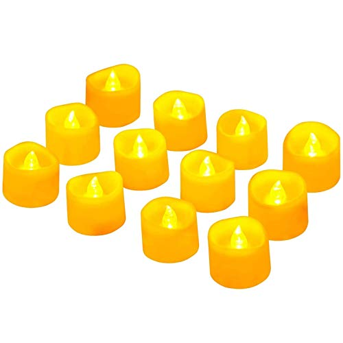 LED Tea Light Candles,12 Pack ADORIC Flickering Flameless Candles Battery Operated Realistic Fake Tealights for Halloween, Christmas, Festival, Weddings, Party Decorations