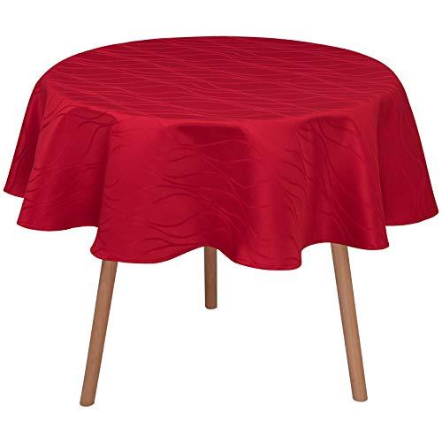 Laneetal Tischdecke Tischtuch Damast Streifen Wellen Tafeldecke abwaschbar wasserdicht schmutzabweisend Eckig Oval Rund wählbar Bordeaux Rund 140 cm