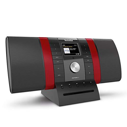 TechniSat MULTYRADIO 4.0 - Internetradio (WLAN Radio, DAB+, UKW, Alexa Sprachsteuerung, Spotify, Bluetooth, CD-Player, USB, Farbdisplay, Musikstreaming, 2 x 10 Watt Stereo Lautsprecher) schwarz/rot