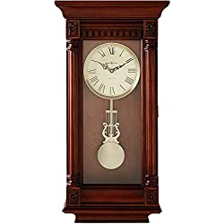 Howard Miller Lewisburg Wall Clock 625-474 – Tuscany Cherry with Quartz, Triple-Chime Movement