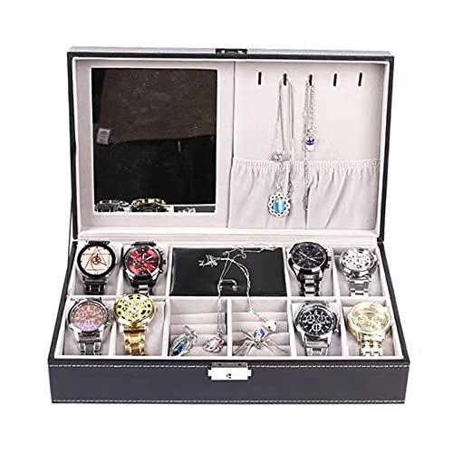 Joyero 33x20x8.5cm Caja De Reloj De Pu Estuche Organizador De Joyas Collares Exhibición Para Hombres Mujeres, Caja De Pu Brillante Con Espejo De Cuero Suave