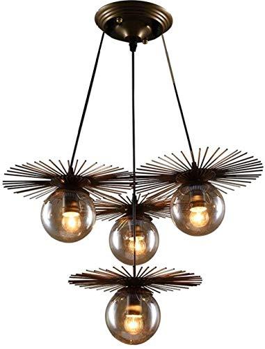 Metal round Straw Hat kroonluchter hanger glazen lampenkap Iron kunst persoonlijkheid magic bean hanglamp (4 lamp koppen)