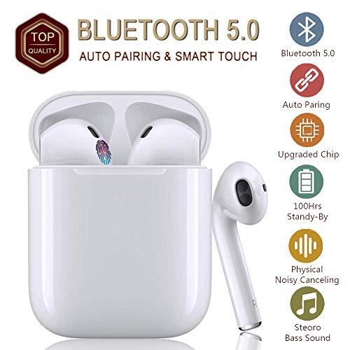 Bluetooth-Kopfhörer, Fingerabdruck berühren kabellose Kopfhörer, 3D-Surround-Sound HiFi-Kopfhörer, IPX7 wasserdichte In-Ear-Kopfhörer, Rauschunterdrückungskopfhörer, Für Apple airpods iPhone - Weiß