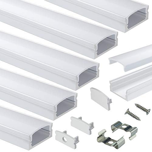 Muzata 6-Pack 3.3ft 9x17mm U Shape LED Aluminum Channel System with Cover, End Caps and Mounting Clips Aluminum Profile for LED Strip Light Installations Diffuser U1SW WW 1M, LU1