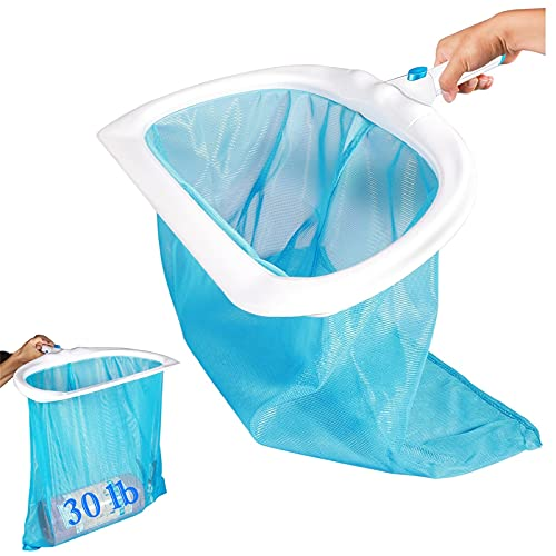 Anzid Upgraded Pool Skimmer Net, Heavy Duty Leaf Rake for Cleaning Swimming Pool & Pond,Fine Mesh Net Bag Catcher