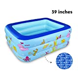 WateBom Inflatable Family Swimming Center Pool with Inflatable Soft Floor, 59 inches Ocean World Kids Swimming Pool