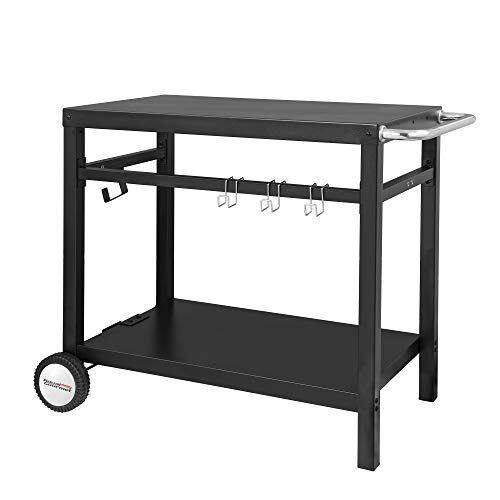 Royal Gourmet Double-Shelf Movable Dining Cart Table, Commercial Multifunctional Stainless Steel Flattop Worktable PC3401B