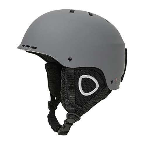 Casco de Esquí Nieve y Alpino y Snowboard y Deporte Ajustable esquí Travesia Ski Helmet para Mujer y Hombre,Unisex Adulto/Gris Oscuro M