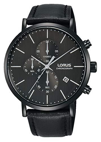 Lorus Klassik Herren-Uhr Chronograph Edelstahl mit Lederband RM323FX9