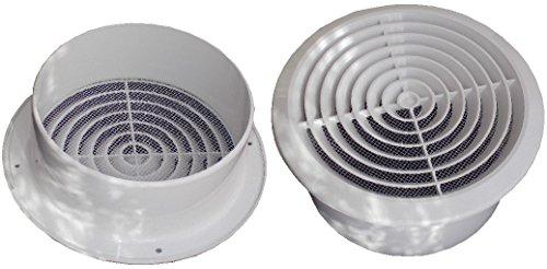 Ventilatierooster afsluitrooster plafond diffuser bescherming tegen insecten rond Ø 150 mm wit ABS rooster, NGA150