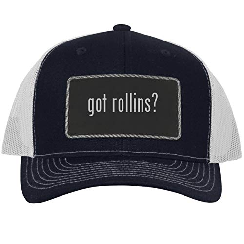 got Rollins? - Leather Black Metallic Patch Engraved Trucker Hat, Navy-White, One Size