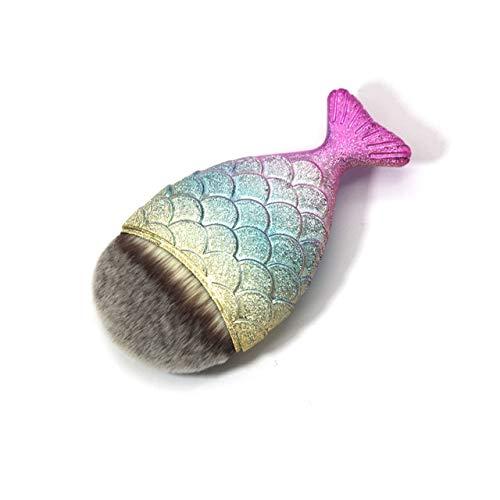 HZD 1/10/11Pcs Mermaid Makeup Brushes Foundation Blending Powder Eyeshadow Contour Concealer Blush Beauty Make Up Tool Kit,1 Big Fish