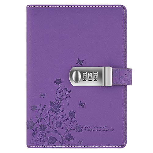 Lirener Recargable Cuaderno de Cuero PU Notebook Personal planificador Diario Organizador(Mariposa y Patrón de Flor), A5 Contraseña Bloc de Notas con Cerradura de combinación, 210x145mm