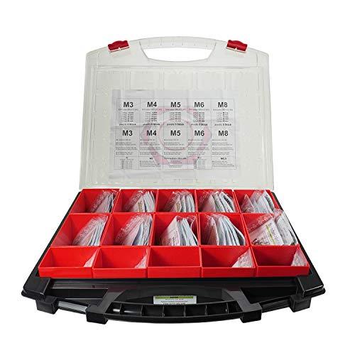 Sortiment 1175 tlg. Zylinderschrauben DIN 912, Scheiben, Muttern M2–M8, Edelstahl A2 V2A VA, 83 versch. Sorten einzeln in Tüten, für jede Situation die richtige Schraube, stabiler Koffer, 15 Einsätze