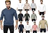 shelikes Men's Sweatshirt Solid Fitted Crew Long Sleeves Sweater T-Shirt (Dark Charcoal, XL)