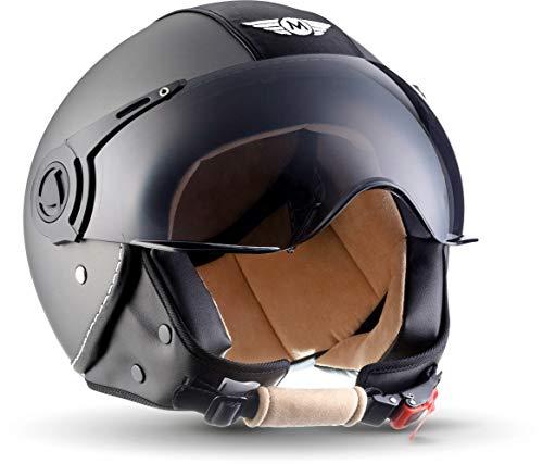 "Moto Helmets® H44 ""Vintage Titan"" · Jet-Helm · Motorrad-Helm Roller-Helm Scooter-Helm Bobber Mofa-Helm Chopper Retro Cruiser Vintage Pilot Biker · ECE Visier Schnellverschluss Tasche L (59-60cm)"