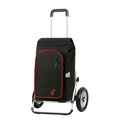 Andersen Einkaufstrolley Royal XXL luftbereift und 56 Liter Einkaufstasche Toto schwarz mit Kühlfach Einkaufswagen Gestell aus Aluminium klappbar