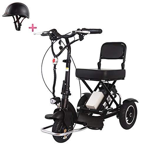 Mr Car Senioren Elektromobil, Zusammenklappbares elektrisches 3-Rad Leicht tragbar Leistung Reiseroller Vorwärts rückwärts, Unterstützung für große Entfernungen (60 km) - Elektroroller für Erwachsene