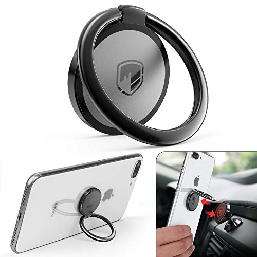 Phone Ring Holder Finger Kickstand - FITFORT 360° Rotation Metal Ring Phone Stand & Grip for Magnetic Car Mount Compatible with All Smartphones-Black