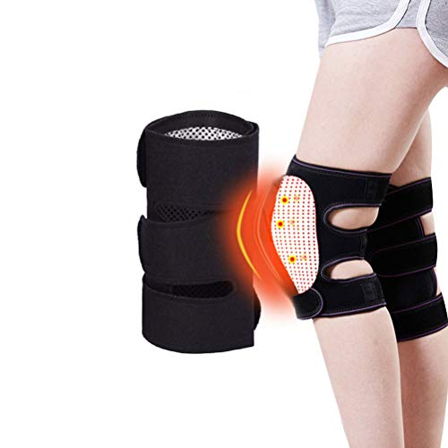 Self Heating Knee Pads, Tourmaline Magnetic Therapy Knee Brace Wrap for Arthritis, Knee Injury, Cramps Arthritis Recovery, Muscles Pain Relief, Portable Adjustable Knee Sleeves Pads, Black