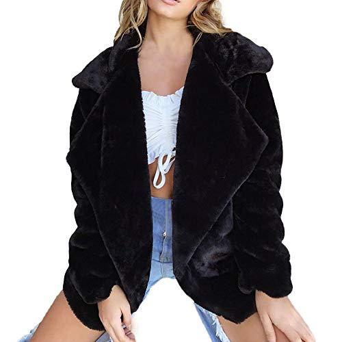 MORCHAN Femmes Manteau Hiver Gardez-vêtement Chaud en Vrac Gros Collier Manteau de Fourrure(Medium,Noir)