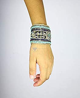 Embroidered Handmade Fabric Trendy Cuff Bracelet | Handmade Jewelry & Accessories | Nagina International