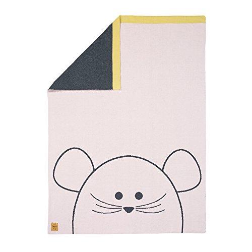 LÄSSIG Baby Kinderdecke Strickdecke weich Bio-Baumwolle GOTS zertifiziert/Baby Blanket Little Chums Mouse