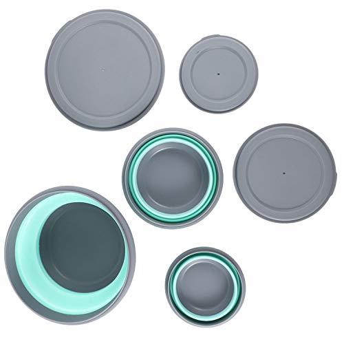 cherrypop - Juego de 3 cuencos de silicona plegables para almuerzo y almuerzo plegable con tapa azul