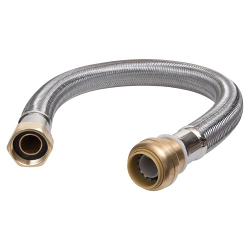 SharkBite, Copper, PEX, CPVC U3068FLEX15LF Flexible Connector 1/2 inch x 3/4 inch x 15 inch, Push-to-Connect Braided Stainless Steel Water Heater Hose, x 3/4 Inch FIP x 15-Inch