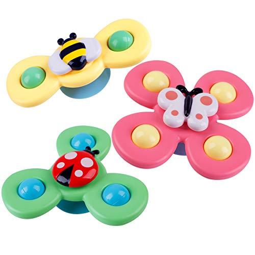 Joyibay Spinning Top Toy, 3 Stück Baby Kreisel Spielzeug Saugnapf Spinner Spielzeug Schmetterling Kreisel Spielzeug Für Kinder Mädchen Jungen Geburtstagsfeier