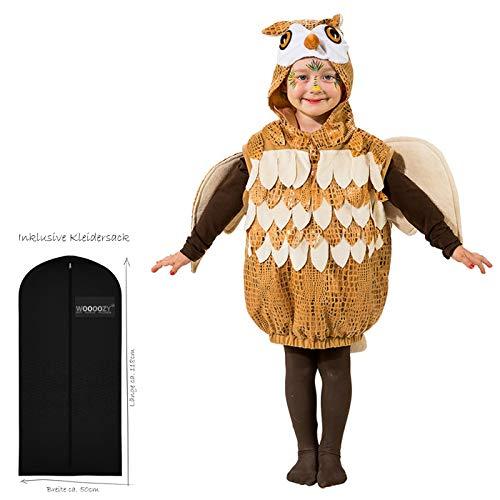 WOOOOZY Kinder-Kostüm Eule mit Kapuze, Gr. 116-128 - inklusive praktischem Kleidersack