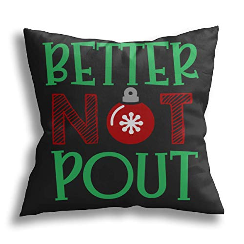 ODENO Best Christmas Better Not Pout, Christmas Decorative Pillow Cover Holiday Decoration Throw Cushion Case for Sofa Couch Home 20 x 20 Inches