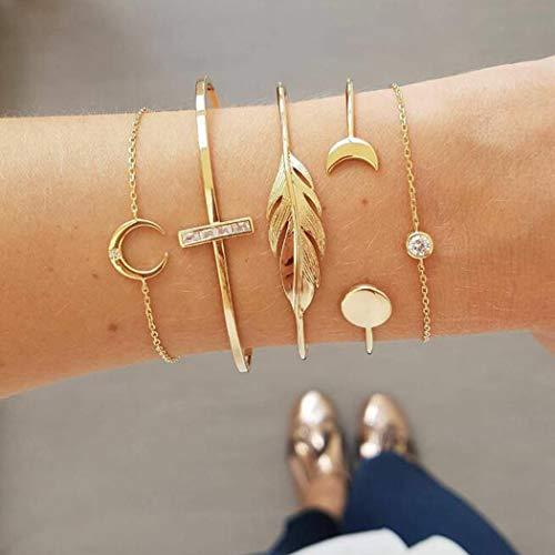 Jovono Boho Lot de 5 bracelets ouverts ouverts à extrémité dorée avec feuilles et lune pour femme et fille