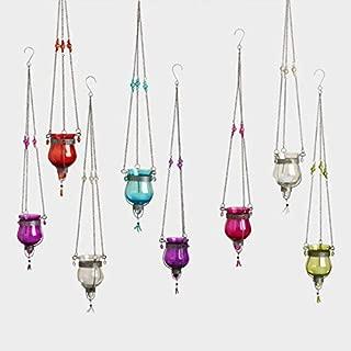 Way Home Fair Glass Dahlia Hanging Tealight Lanterns Set of 8