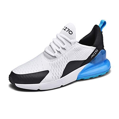 KAWAI Straßenlaufschuhe Herren Sneakers Luftkissenschuhe Sportschuhe Modisch Joggingschuhe Atmungsaktive Mesh Tuch Sport Freizeitschuhe Unisex Erwachsene 270 White Blue 38