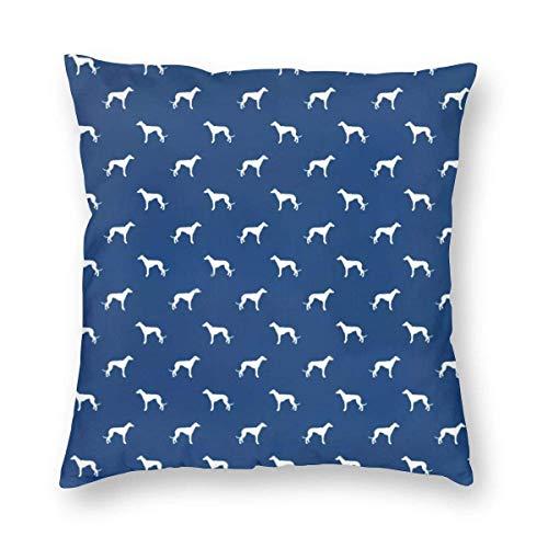 Ahdyr Funda de Almohada de Microfibra Ultra Suave Funda de cojín de cojín de Perro Galgo Azul Marino 18x18 en Fundas de Almohada Decorativas para el hogar cuadradas Suaves