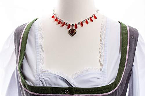 Herzkette Strass siamrot mit Perlen weiß Dirndlkette
