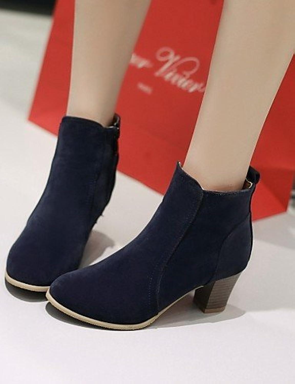 XZZ  Damenschuhe - Stiefel - Kleid   Lssig - Vlies - Blockabsatz - Rundeschuh   Modische Stiefel - Schwarz   Gelb   Rot   Beige   Marineblau