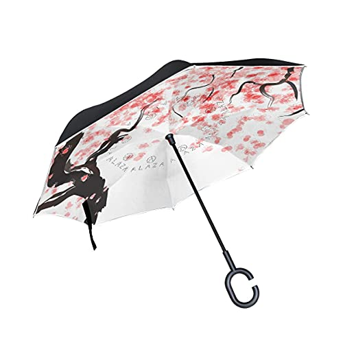 Paraguas plegables Japanese Cherry Tree Blossom Paraguas plegables inversos a prueba de viento UV con mango en forma de C