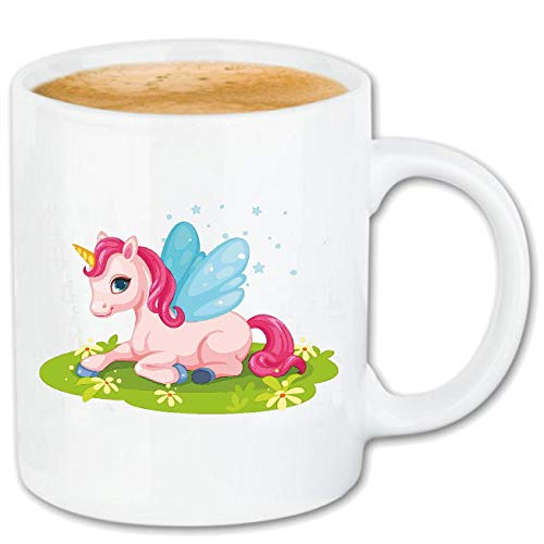 Reifen-Markt Kaffeetasse Einhorn - Unicorn - Fabelwesen - Regenbogen - Emoji Keramik 330 ml 400030