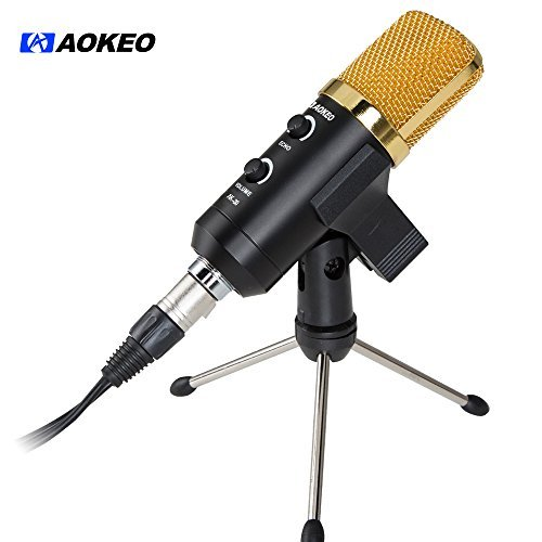 Aokeo AK-30 Professional USB Condenser Microphone with Butterfly Clip Holder, Desktop Tripod Stand, XLR Female to USB & 3.5mm Male Splitter Cable and Ball-type Anti-wind Foam Cap
