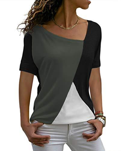 Sarin Mathews Womens Shirts Casual Tee Shirts Short Sleeve Patchwork Color Block Loose Fits Tunic Tops Blouses Black+Darkgrey L