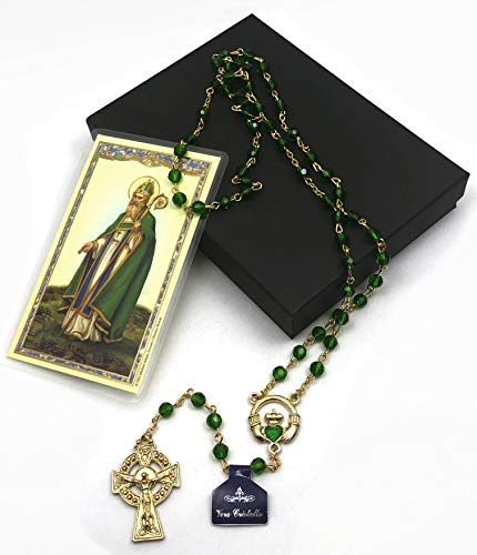 Gold Irish Rosary with Celtic Cross and Claddagh Centerpiece Gift set (includes St Patrick Holy Card)