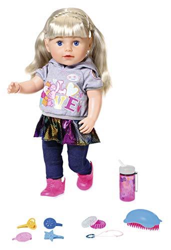 Zapf Creation 827802 BABY born Soft Touch Sister Blond Puppe mit lebensechten Funktionen und Zubehör, bewegliche Gelenke und Soft-Touch-Oberfläche, 43 cm