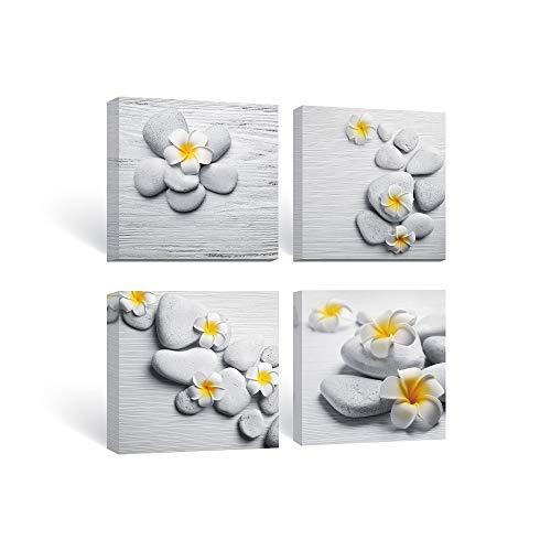SUMGAR Cuadros de Lienzo Amarillo y Gris Arte de la Pared Zen Piedra y Frangipani Pintura de Flores para Baño Sala de Estar Dormitorio Pared 30x30cmx4 4iezas