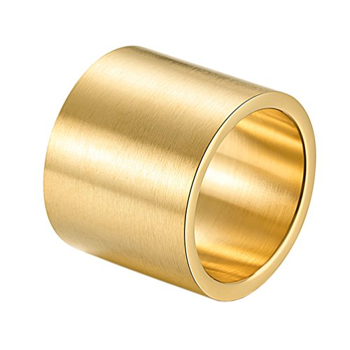 PAURO Homme Acier Inoxydable Pipe Coupe Large Bande De Mariage Plat Top Ring Gold Finition Brossé Taille 65