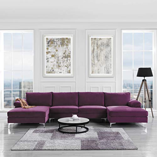 Casa AndreaMilano Modern Large Velvet Fabric U-Shape Sectional Sofa, Double Extra Wide Chaise Lounge Couch, Plum